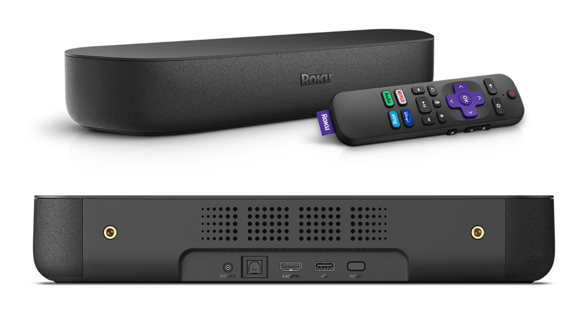 Roku Streambar Side Shot with Remote and Back Panel