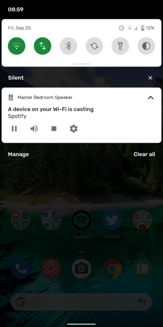 Chromecast media notification adds track controls on Android