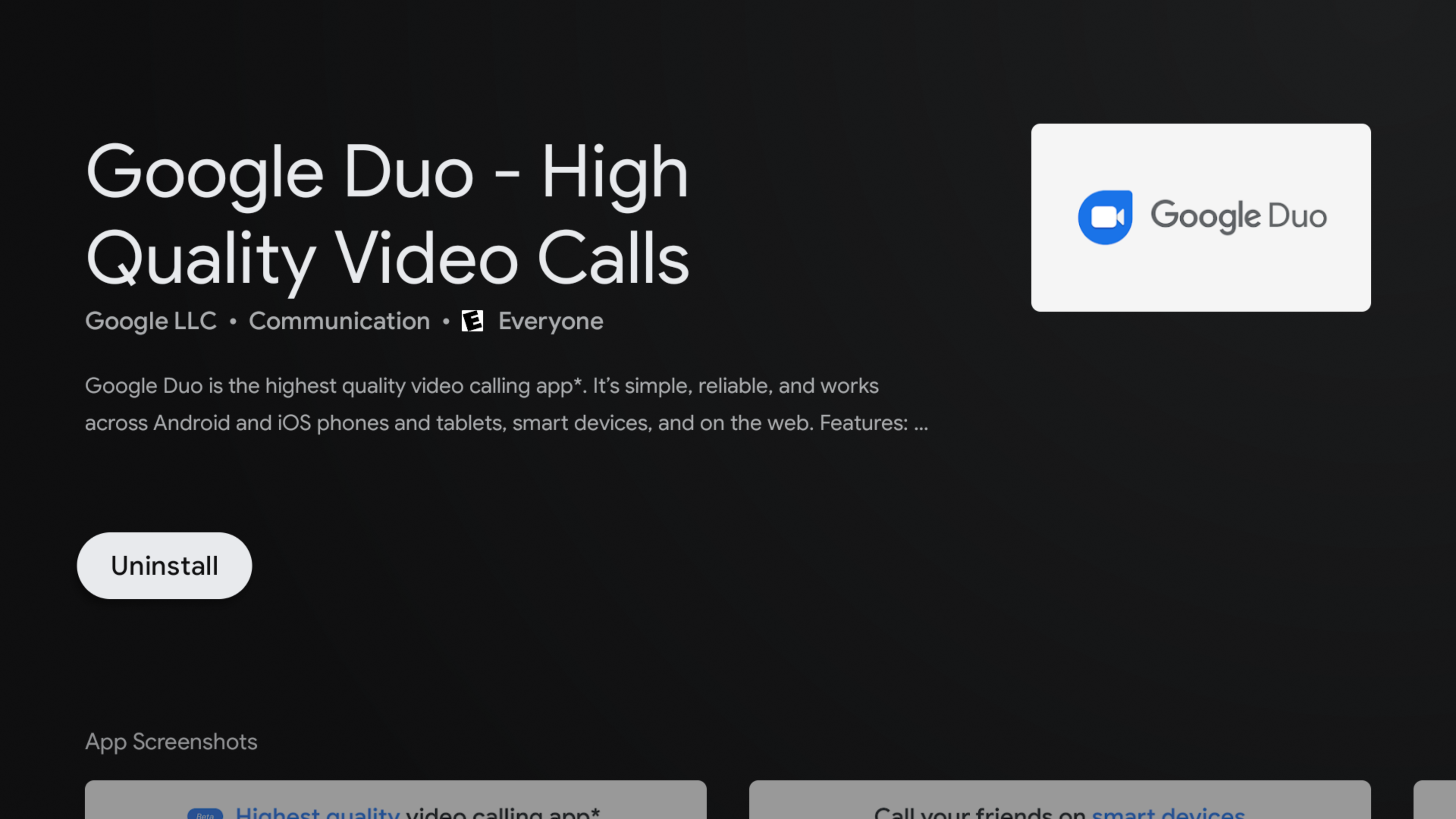 Google Duo can now be installed on Android TV