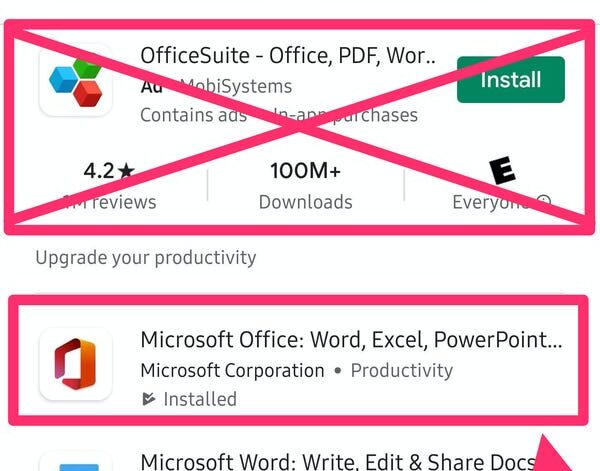 How to get Microsoft Office suite apps on Android