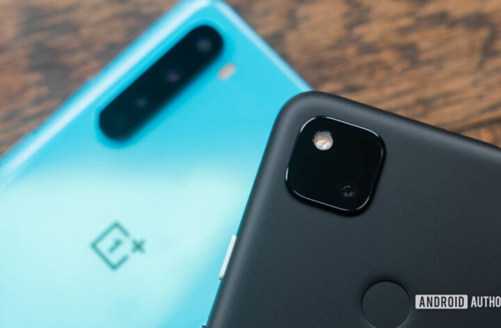 OnePlus Nord vs Pixel 4a Pixel in focus camera module against OnePlus Nord background