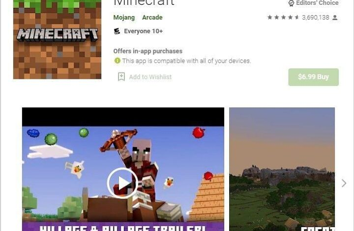 Minecraft on the Google Play Store