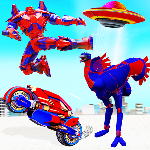 Flying Ostrich Robot Transform Bike Robot Games 38 APK MODs Unlimited money Download on Android